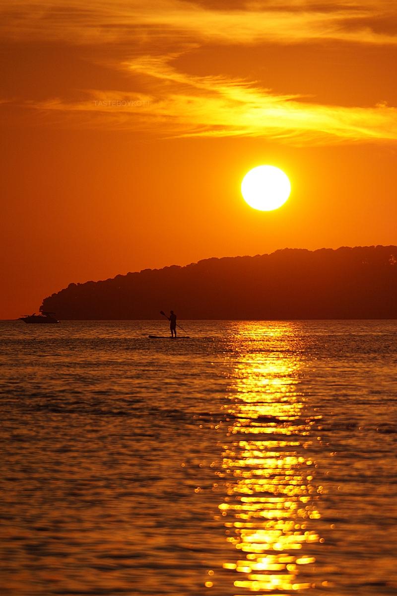 Croatia evening sky summer heaven sunset surfer at the sea