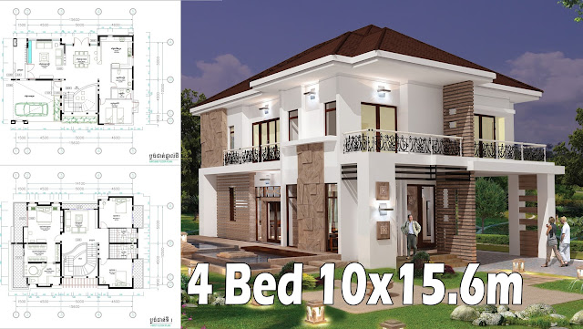 4 Bedroom Home Plan Full Exterior and Interior 10x156m SaM ArchitecT