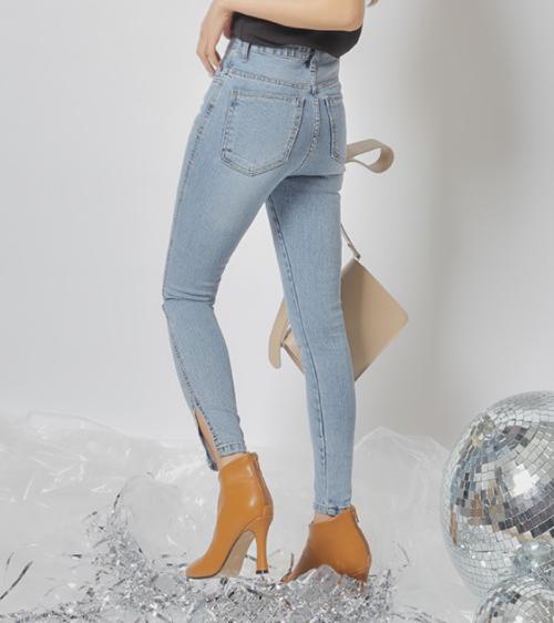 Side Slit Skinny Jeans