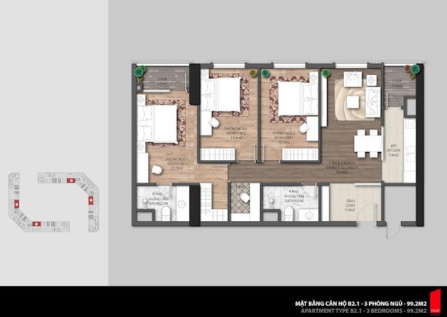 Thiết kế căn hộ B2.1 diện tích 99,2m2 chung cư The Emerald