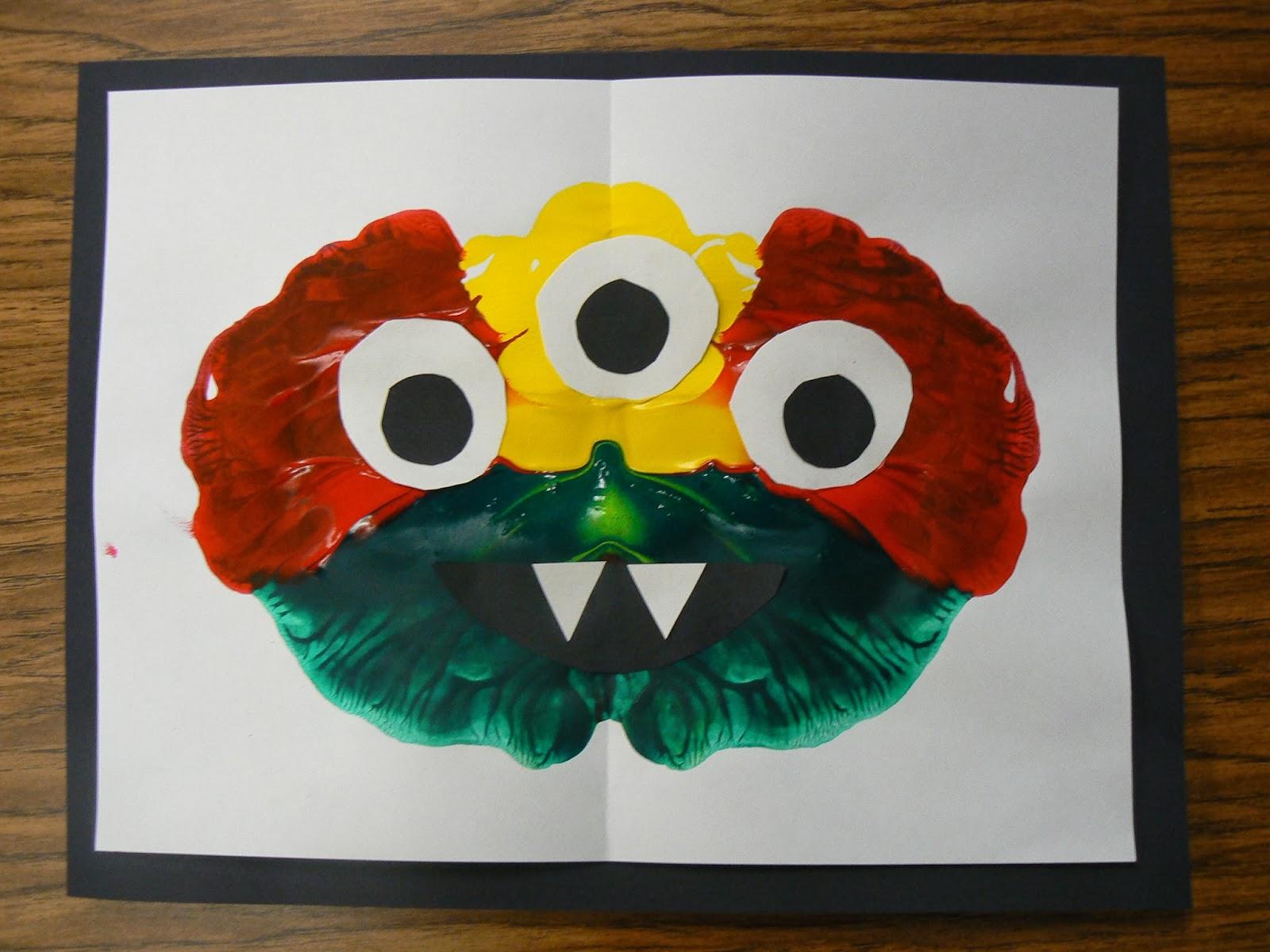 Mrs T S First Grade Class Monster Symmetry