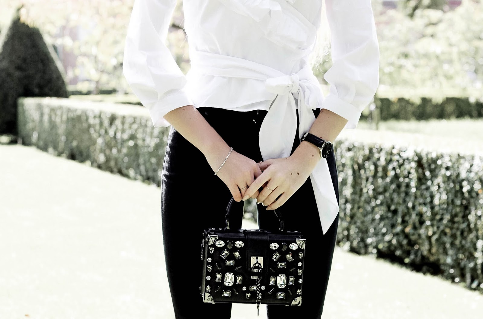Embellished Black Box Clutch Handbag