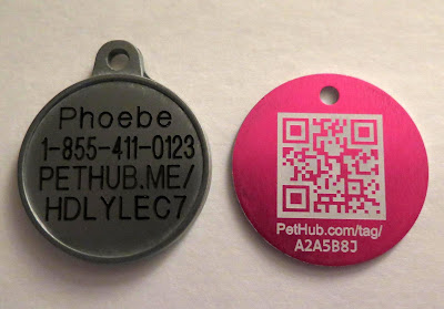 Lost pets can be identified by calling PetHub at the phone number on the tag.  Some of their tags have a code that can be scanned with a smart phone.