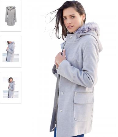 Palton dama gri casual de iarna cu buzunare si blanita ieftin