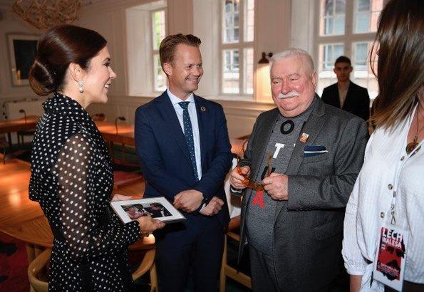 Crown Princess Mary wore Carolina Herrera polka dot silk shirt dress, Gianvito Rossi mesh suede pumps and carried Quidam clutch