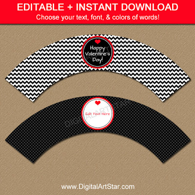 instant download cupcake wrappers for Valentiens Day in black & red with chevron