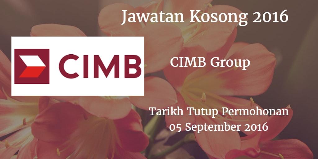 Jawatan Kosong CIMB Group  05 September 2016