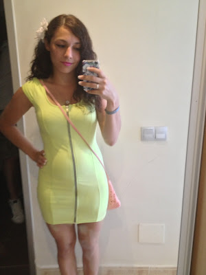 Person wearing a neon green dress