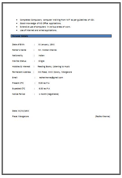 experienced resume sample