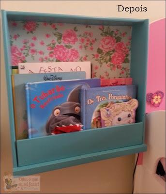 prateleira para livros feita com gaveta