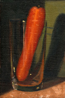 Oil painting of a carrot in a cider glass with a green background.