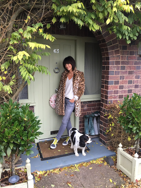 My Midlife Fashion, Leopard Print Faux Fur Zara Coat, Boden Hi Top Trainers, Grey skinny jeans, boden cashmere relaxed fit jumper