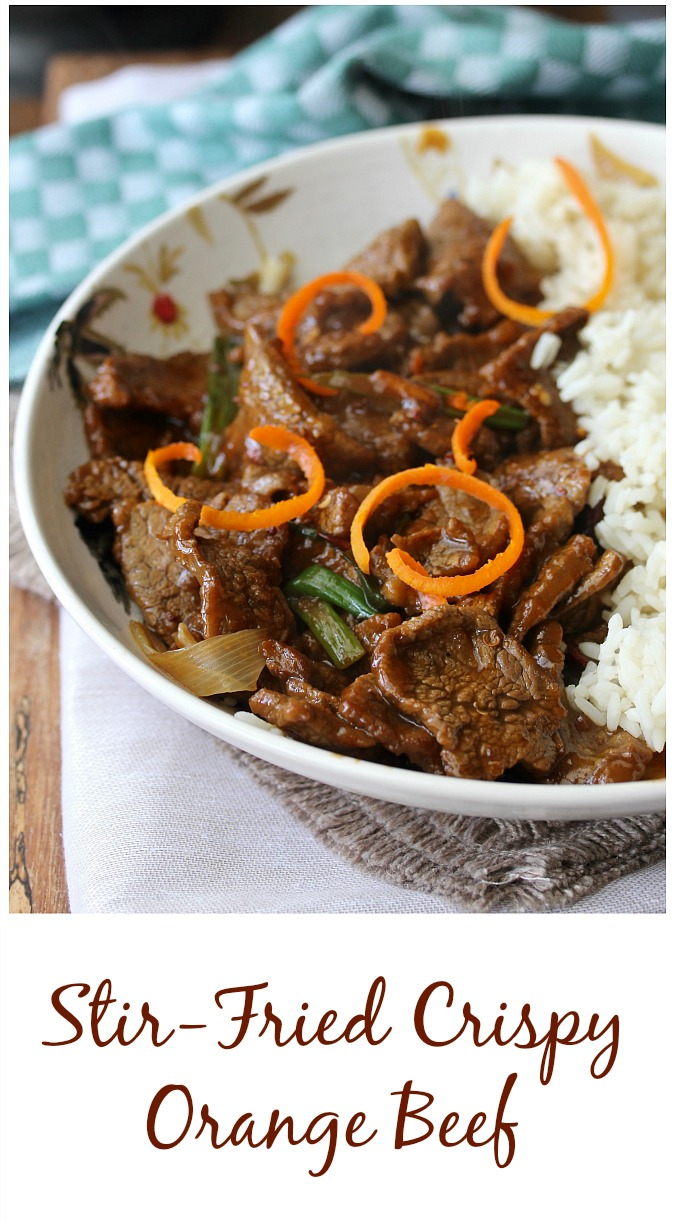 Stir-Fried Crispy Orange Beef with white rice