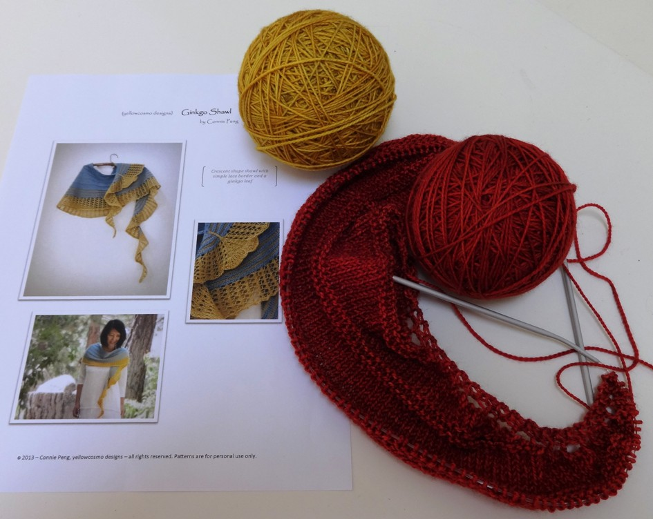 Ginkgo Leaf Knitting Pattern : eweniquely ewe: Ginkgo Shawlette