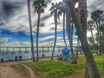 Tidelands park with a view of the San Diego-Coronado Bridge in the background