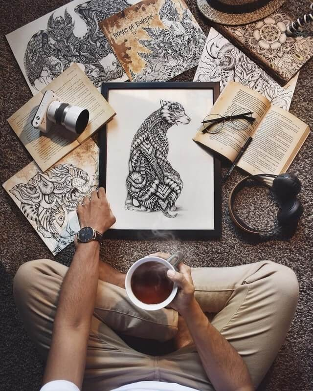 11-The-artist-Reflecting-Maahyart-Animal-Drawings-Steeped-in-Zentangle-www-designstack-co