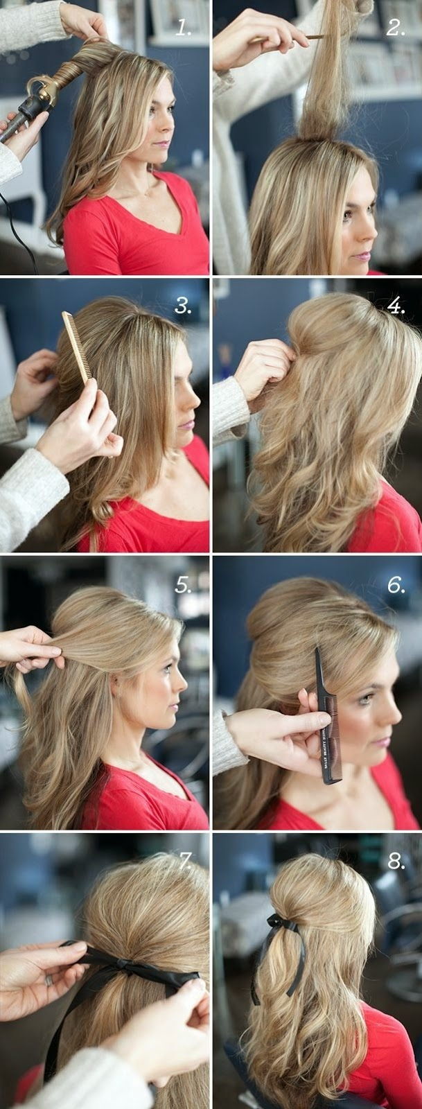 Pretty Simple Wedding Hairstyles Tutorial For Long Hair Ribbon Half Updo