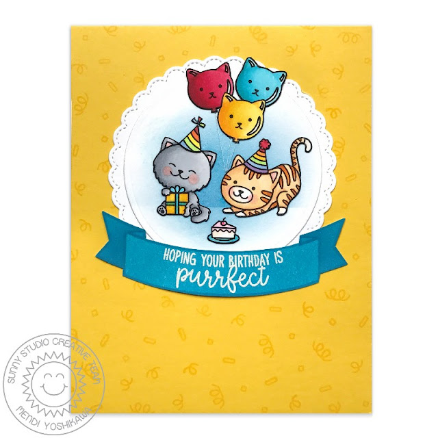 Sunny Studio Stamps: Purrfect Birthday & Fancy Frames Cat Card by Mendi Yoshikawa