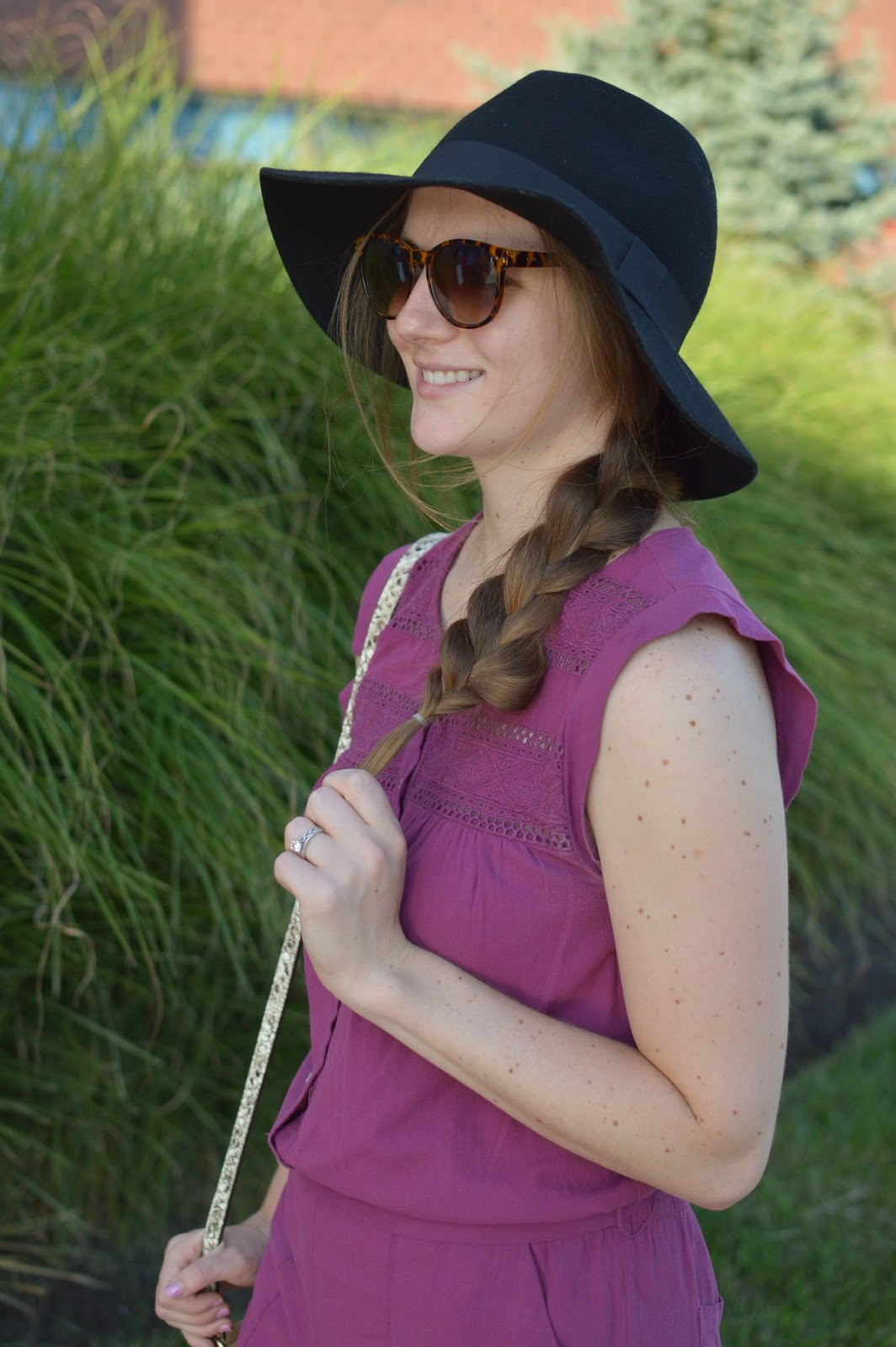 braid with a floppy hat | summer outfit ideas | how to wear your hair with a floppy hat | black floppy hat | burgundy lace romper | cute summer rompers |