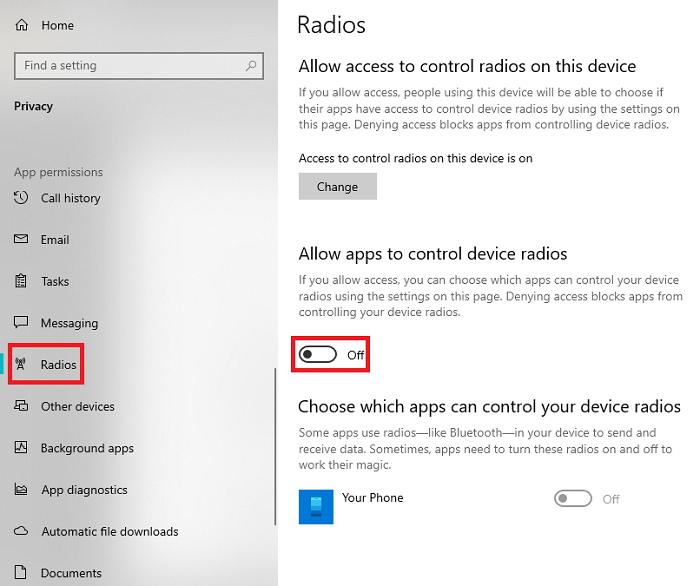 Let apps control radios