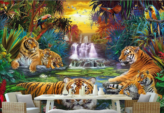 Jungle Wall Mural Kids Room Animals Tigers