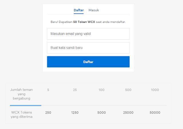 cara daftar di situs Token WCX