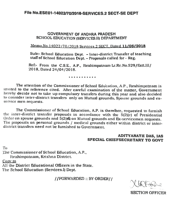 Inter District Transfers Details Memo No 14022 released.
