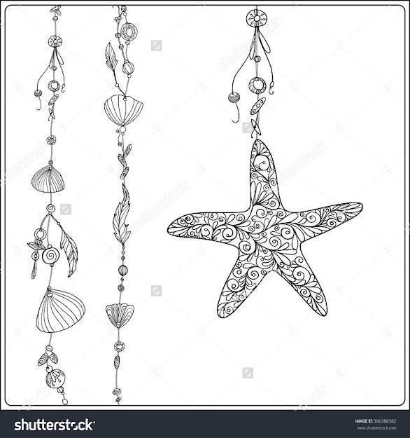 Adult Coloring Page With Sea Star And Sea Shells In Boho Style Outline  Drawing