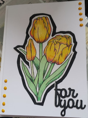 """Yellow tulips (hand coloured) - For you 7"""" x 5"""" card"""