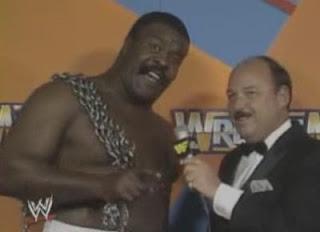 WWF / WWE WRESTLEMANIA 3 - The JYD Junkyard Dog has some choice words for 'King' Harley Race