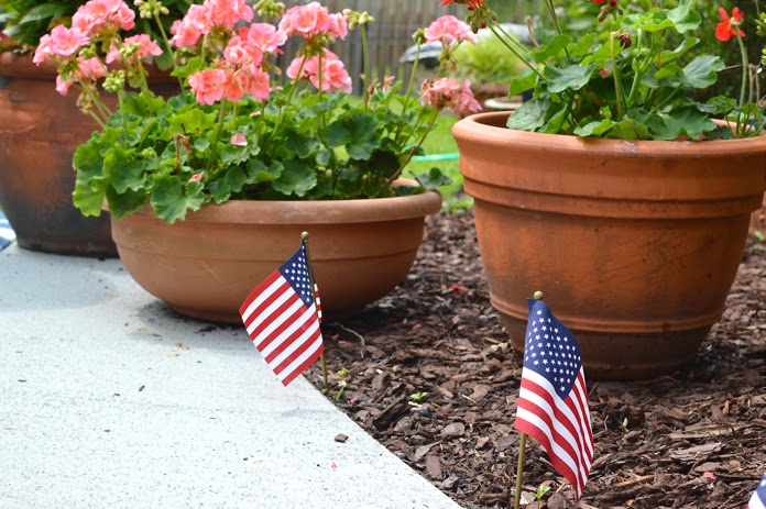 decorate with mini flags for Memorial Day weekend