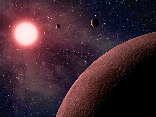 Illustration of a planet orbiting a red dwarf star