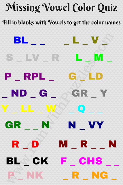 Missing Vowels Colors Quiz