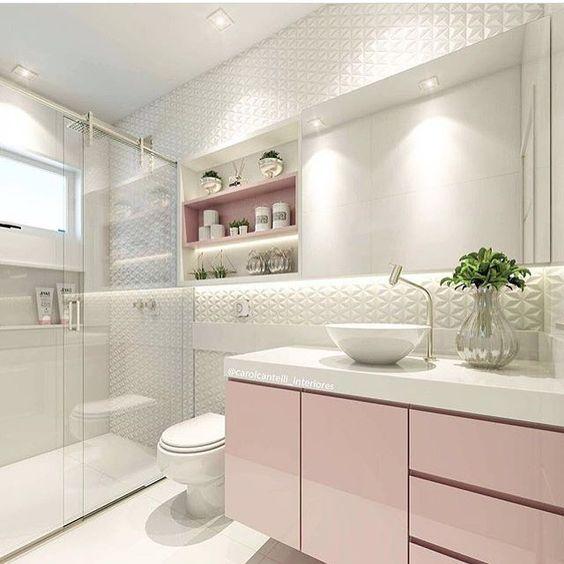 Banheiro cor de rosa. Blog Achados de Decoração