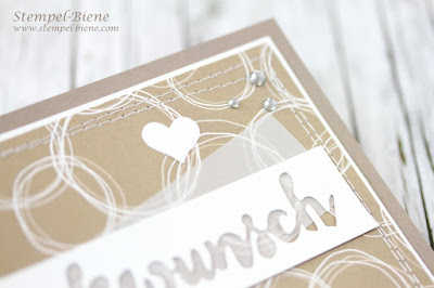 Glückwunschkarte; Stampin up Stille Natur; Thinlits Grüße voller Sonnenschein; Glückwunschkarte Nähen; Hochzeitskarte; Stempel-Biene; Stampinup  Blog