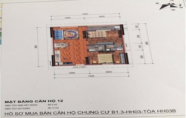 Sơ đồ thiết kế căn hộ 12 chung cư B1.3 HH03B Thanh Hà Cienco 5