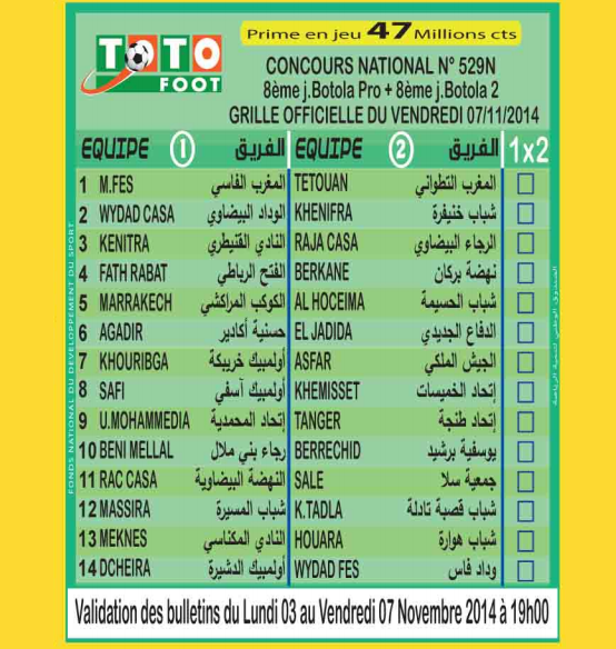 TOTO FOOT COUNCOURS NATIONAL N 529N