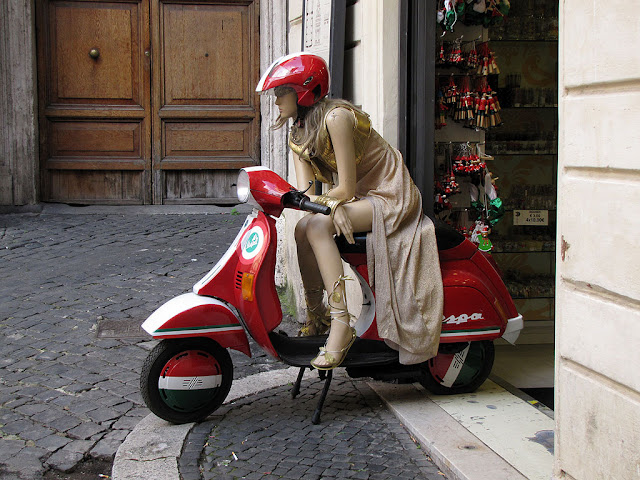 Mannequin on a Vespa outside a souvenir shop, Via di Sant'Andrea delle Fratte, Rome