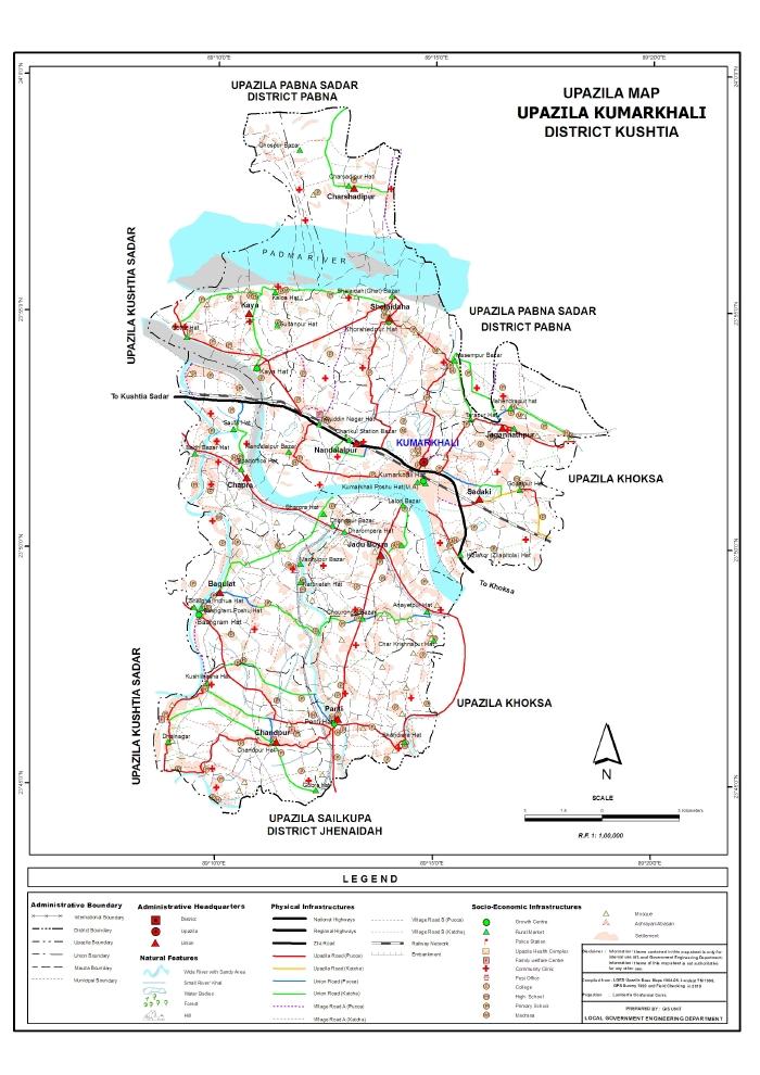 Kumarkhali Upazila Map Kushtia District Bangladesh