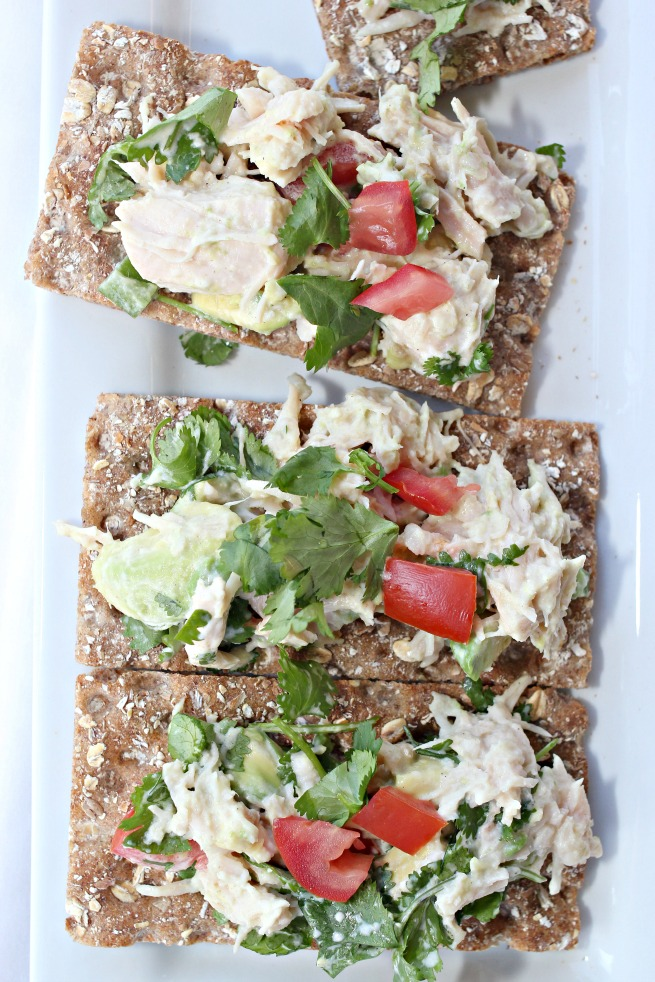 Recipe: Jalapeno Avocado Chicken Salad on Wasa Crispbread, Topping ideas for Wasa, jalapeno avocado chicken salad, chicken salad recipes, avocado chicken salad recipe,