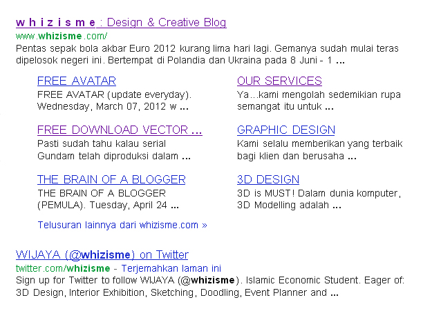 DESIGN AND CREATIVITY, SITELINK - MEMBUAT BLOG DI HALAMAN PERTAMA GOOGLE