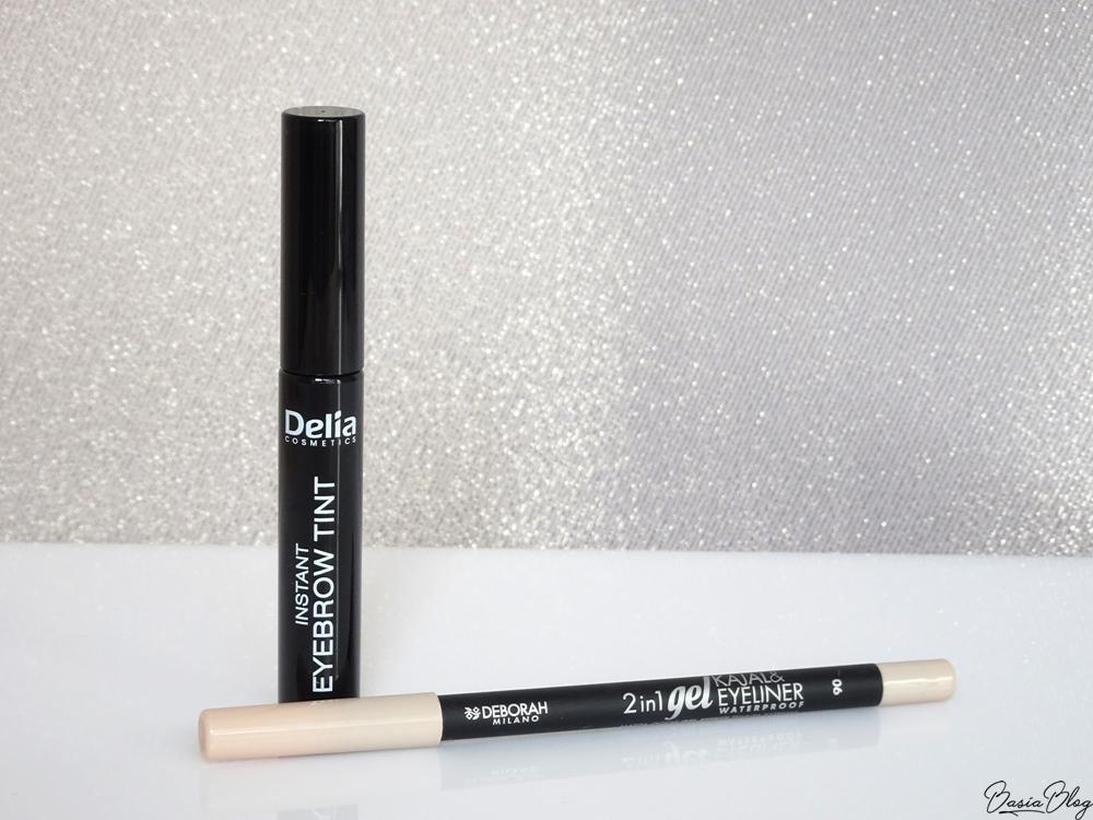 Delia, Instant Eyebrow Tint, henna jednoskładnikowa brązowa, Cielista kredka Deborah 2in1 Gel Kajal&Eyeliner Waterproof 06