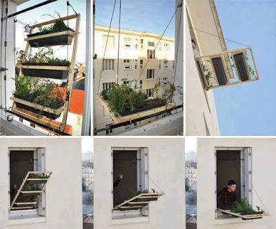 Huerta de madera para el balcón desplegable