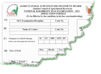 ASRB NET 2012 Application Form