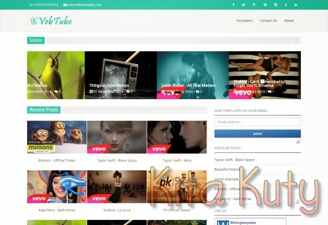 Vebtube Responsive Template Blog Video Keren