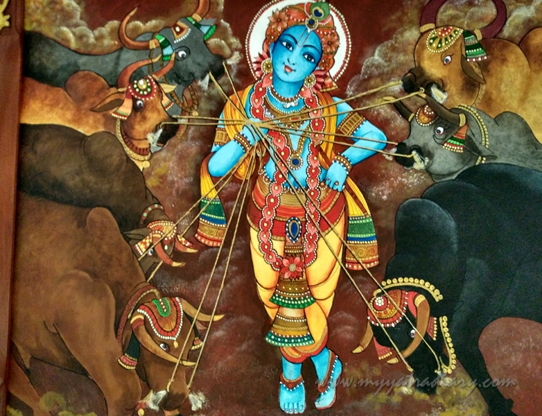 Cowherd Krishna - Paintings in ISKCON Temple, Chennai