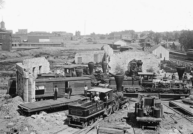 The ruins of an extensively damaged Roundhouse in Atlanta, Georgia after the Atlanta Campaign in the summer of 1864. After Union Maj. Gen. William T. Sherman captured the city, he began his destructive March to the Sea, finally taking the port of Savannah on December 21.
