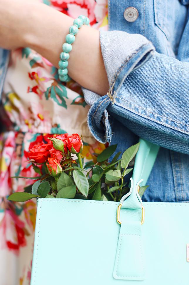 mint bracelet roses mint bag outfit