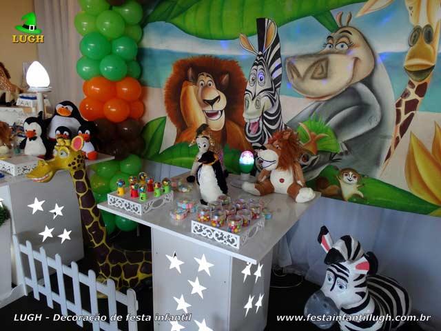 Decoração de festa infantil Madagascar - Aniversário temático