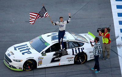 In his 300th career start, Brad Keselowski won his fifth Talladega race and automatically advances to the Round of 8 in the Monster Energy NASCAR Cup Series Playoffs.